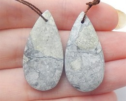 29.5ct Natural Water Drop Orbicular Rhyolite Birds'Eye Jasper Earring Pair(