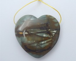 86ct Natural  Heart Shape Picasso Jasper Pendant (18062509)
