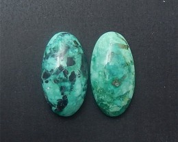 27.5ct On Sale Natural Oval Green Turquoise Cabochon Pair(18062515)