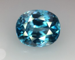4.33 Cts Blue Zircon Awesome Color ~ Cambodia Pk30