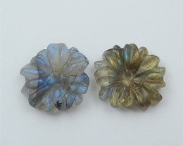 11ct On Sale Natural Labradorite Craved Flower Earring Beads (18062602)