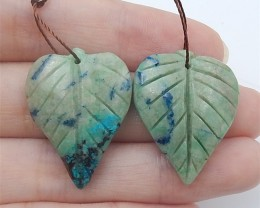 59ct New Arrival Natural Chrysocolla Carved Leaf Earring Pair(18062608)