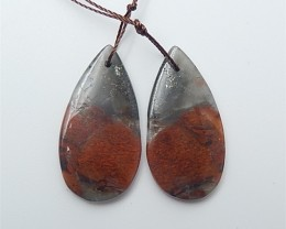 34ct Natural Water Drop African Blood Stone Earring Pair(18062702)