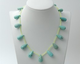 133cts  Precious Gift Natural Teardrop Turquoise Necklace F423
