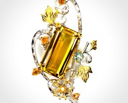 For Alignment 'Inspiration' Citrine Sapphire Sterling Silver Gold Brooch