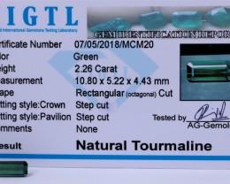 Certified|CIGTL~2.26 Cts Museum Grade Green color Tourmaline Gemst