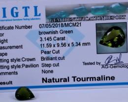 Certified|CIGTL~3.145 Cts Museum Grade Green color Tourmaline Gems