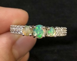 19.14ct Welo Opal 925 Sterling Silver Ring US 9