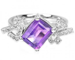 19.05ct Purple Amethyst 925 Sterling Silver Ring US 6.5
