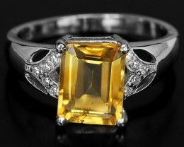 15ct Yellow Citrine 925 Sterling Silver Ring US 7
