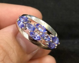 15.5ct Blue Tanzanite 925 Sterling Silver Ring US 8