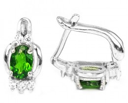 13ct Green Chrome Diopside 925 Sterling Silver Earrings