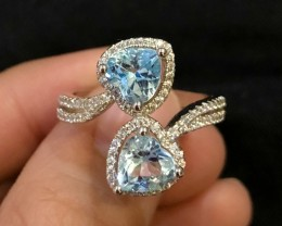 23.5ct Blue Topaz 925 Sterling Silver Ring US 9.25