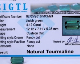 Certified|CIGTL~4.12Cts Museum Grade Green color Tourmaline Gems