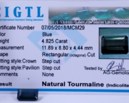 Certified|CIGTL~4.825 Cts Museum Grade Blue color Tourmaline Gems