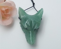 60.5ct Hot Sale Natural Green Aventurine Craved wolf head Pendant (18062804