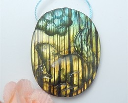 97.5ct Special Gift Natural Shining Labradorite Craved Squirrel Pendant (18