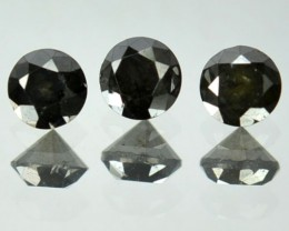 0.44 Cts Natural Black Diamond 3 Pcs Round Africa