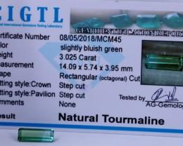 Certified|CIGTL~3.025 Cts Museum Grade Green color Tourmaline Gems