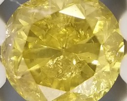 0.09 Cts SI / FANCY YELLOW Natural Diamond Round Loose G6