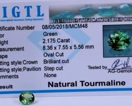 Certified|CIGTL~2.175 Cts Museum Grade Green color Tourmaline Gems