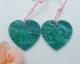 35.5ct Natural  Heart Shape Chrysocolla Earring Pair(18063003)