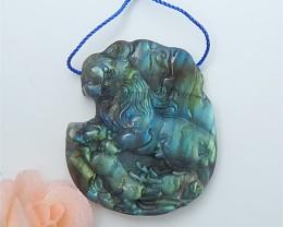131.5ct Hot Sale Natural Labradorite Carving Lion Pendant (18063008)