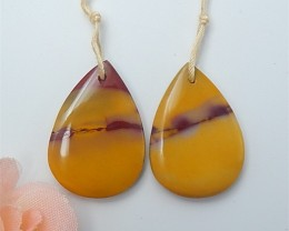 31ct Fashion Natural Water Drop Mookite Jasper Earring Pair(18063013)