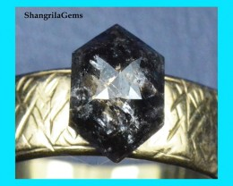 9.45mm 1.985ct Salt Pepper Hexagon diamond from Botswana 9.45 by 6.2 by 4mm