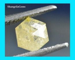 0.71ct 6.35mm Rose cut hexagon diamond ivory yellow