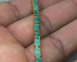 (B3) Sublime 45.0tcw Emerald Bracelet 18K YG over silver 9.7gr
