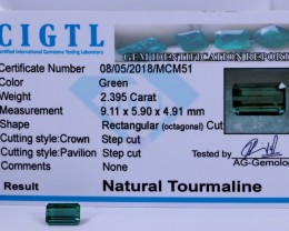 Certified|CIGTL~2.365 Cts Museum Grade Green color Tourmaline Gems