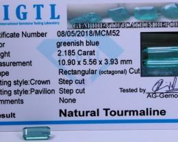 Certified|CIGTL~2.185 Cts Museum Grade Green color Tourmaline Gems