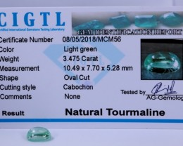 Certified|CIGTL~3.475Cts Museum Grade Green  color Tourmaline Cabo