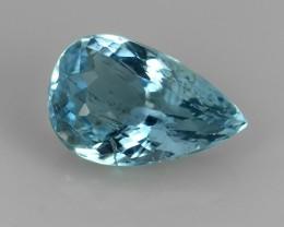 1.20 Cts Sparkling Luster - Pear Gem - Natural Top Blue Aquamarine