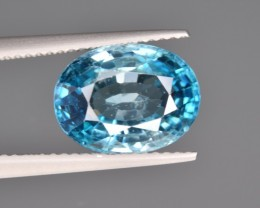 Natural Blue Zircon 6.61 Cts from Combodia