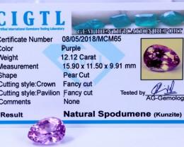 Certified CIGTL | 12.12 Ct| Museum Grade | Pink Kunzite Gemstone