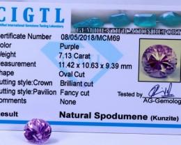 Certified CIGTL | 7.13 Ct| Museum Grade | Pink Kunzite Gemstone