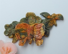 110ct Special Offer Natural Multi-Color Picasso Jasper Carved Butterfly&amp