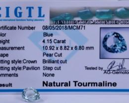 Certified CIGTL | 4.15 Ct| Museum Grade | BlueTourmaline Gemstone