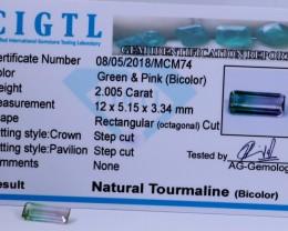 Certified CIGTL |2.005 Ct| Museum Grade |Bi Tourmaline Gemstone