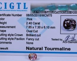 Certified CIGTL |2.40 Ct| Museum Grade |Pink Tourmaline Gemstone