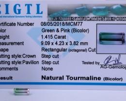 Certified CIGTL |1.415 Ct| Museum Grade |Bi Tourmaline Gemstone