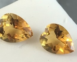 Orangey Yellow Mixed Heart Pear Shape 4.40 ctCitrine Pair