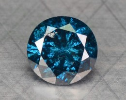 0.18 Cts Natural Fancy Blue Diamond Round Africa