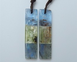 27.5ct On Sale Natural Blue Kyanite .Green Kyanite And Labradorite Intarsia