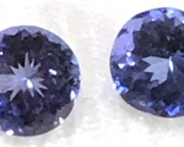 2.90  Ct Pretty Blue Round Tanzanite Pair - G16