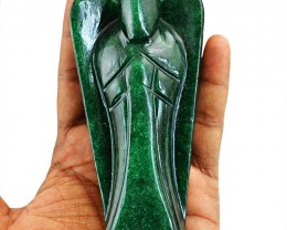 Genuine 1005.50 Cts Green Jade Craved Healing Angel