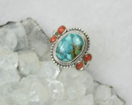 NATURAL UNTREATED TURQUOISE RING 925 STERLING SILVER JE239