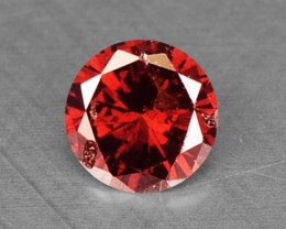 0.11 Cts Natural Fancy Red Diamond Round Africa